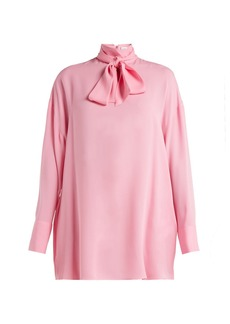 Valentino Pussy-bow silk-crepe blouse