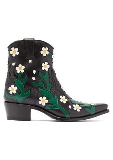 Valentino Ranch Daisy floral-appliqué western leather boots