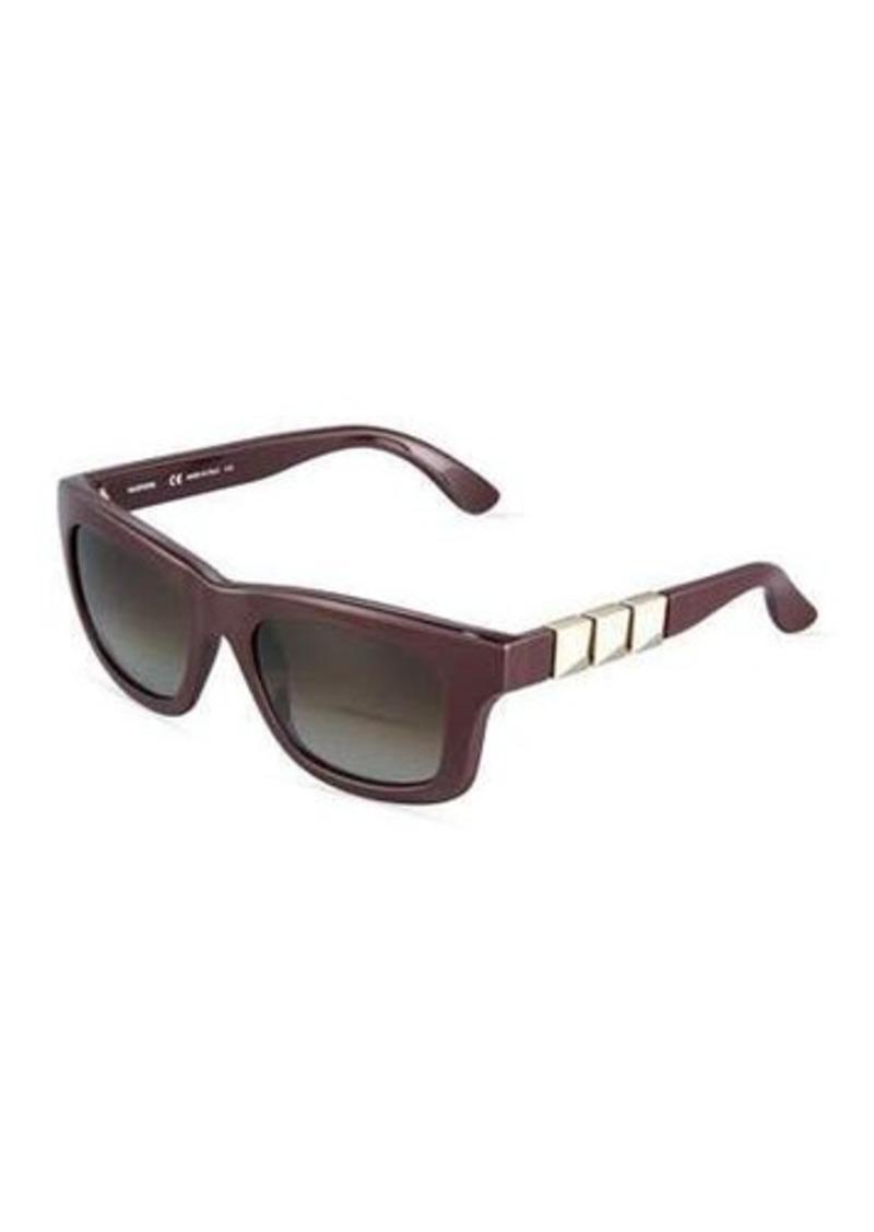 Valentino Rectangle Plastic Sunglasses w/ Rockstud Arms