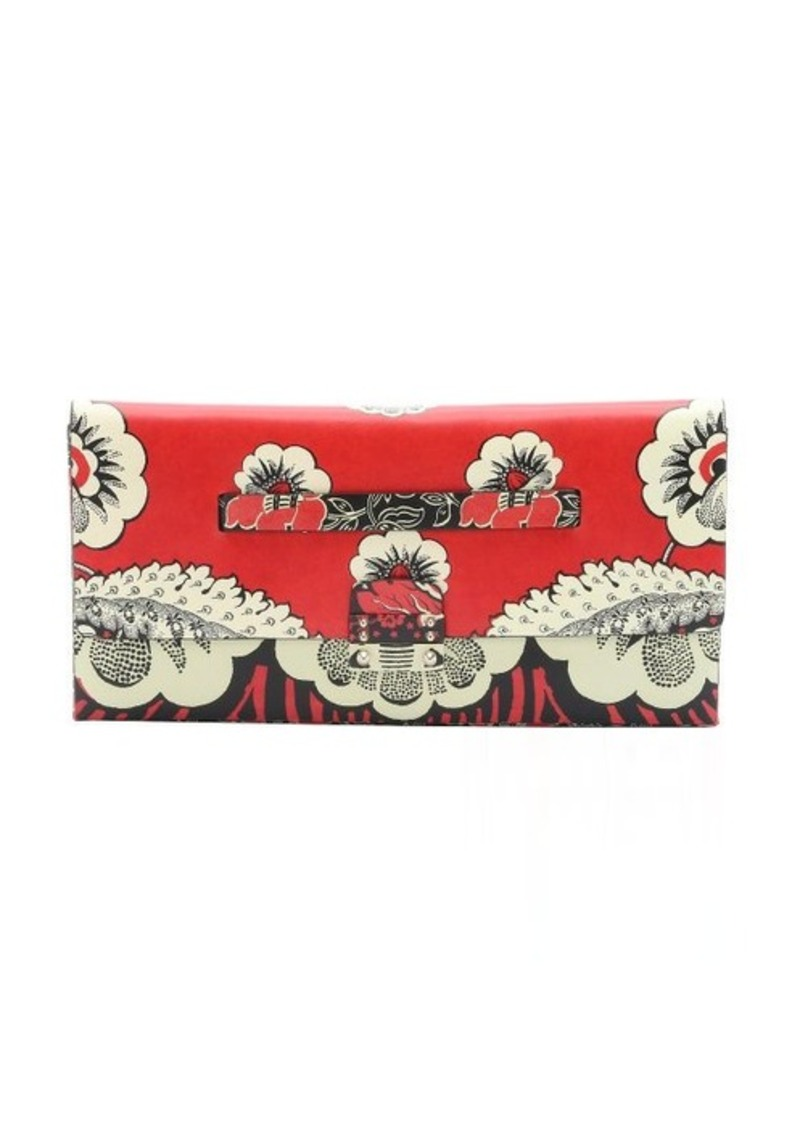 Valentino Valentino Red And Black Floral Print Leather Large Clutch | Handbags