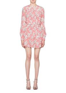Valentino Rhododendron-Print Crepe de Chine Dress