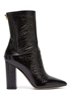 Valentino Ringstud creased patent-leather ankle boots