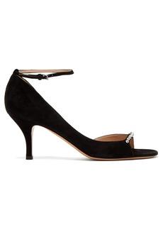 Valentino Ringtoe crystal-embellished suede sandals