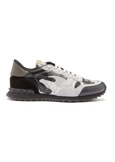 Valentino Rockrunner camouflage leather and suede trainers