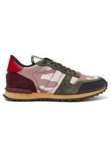 Valentino Rockrunner camouflage suede and leather trainers