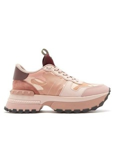 Valentino Rockrunner Up camouflage-print leather trainers