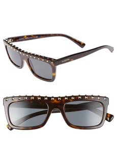 Valentino Rockstud 51mm Rectangular Sunglasses