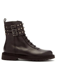 Valentino Rockstud ankle-buckle leather boots