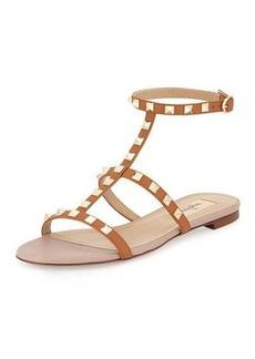 Valentino Rockstud Ankle-Strap Flat Sandal
