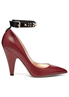 Valentino Rockstud ankle-strap leather pumps