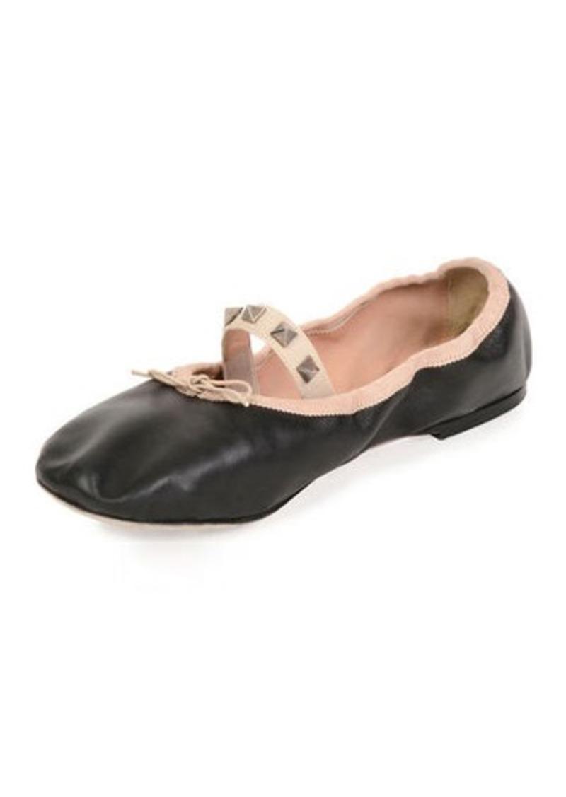 6d89cd12b013 Valentino Valentino Garavani Rockstud Ballet Leather Ballerina Flat ...