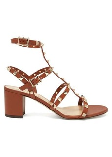 Valentino Rockstud block-heel leather sandals