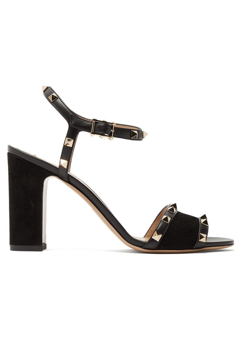 f1f45d778ae Valentino Valentino Rockstud block-heel suede sandals