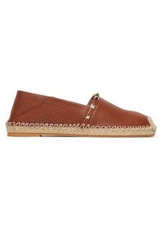 Valentino Rockstud collapsible-heel leather espadrille flats