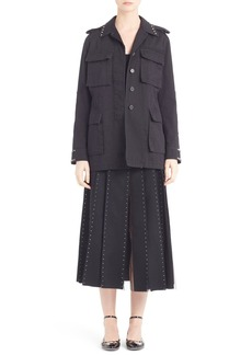 Valentino 'Rockstud' Cotton Gabardine Military Jacket
