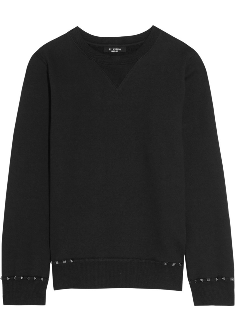 Valentino The Rockstud Cotton-jersey Sweatshirt
