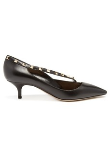 Valentino Rockstud crossover-strap leather pumps