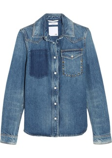 Valentino The Rockstud Distressed Denim Shirt