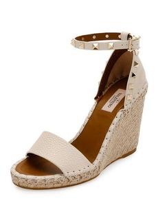 Valentino Rockstud Double Espadrille Wedge Sandal