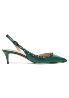 Valentino Rockstud elaphe sling-back heels