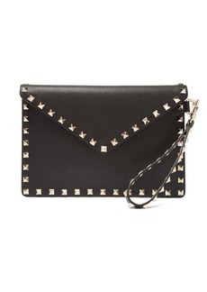 Valentino Rockstud-embellished leather pouch bag