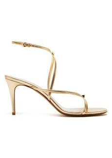 Valentino Rockstud-embellished metallic leather sandals