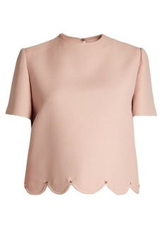 Valentino Rockstud-embellished scalloped-hem wool-blend top
