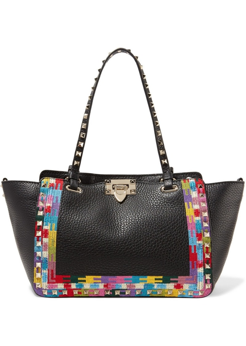 207871eefb0d Valentino Valentino Rockstud embroidered textured-leather trapeze ...