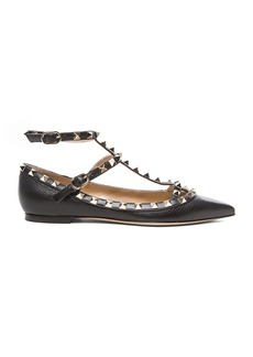 Valentino Rockstud Grained Leather Cage Flats