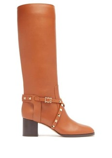 Valentino Rockstud knee-high leather boots