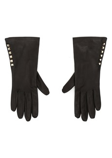 Valentino Garavani Rockstud Lambskin Leather Gloves