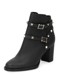 Valentino Rockstud Leather 70mm Chunky-Heel Bootie