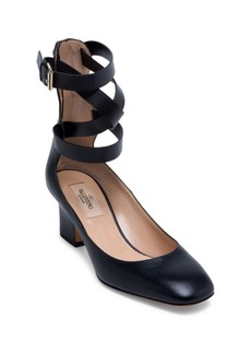 VALENTINO GARAVANI Rockstud Leather Ankle-Wrap Pumps