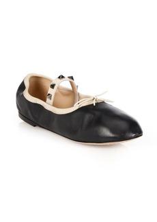 VALENTINO GARAVANI Rockstud Leather Ballet Flats