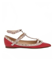 Valentino Rockstud Leather Cage Flats