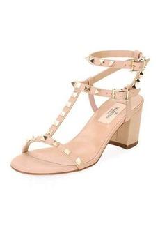 Valentino Rockstud Leather Low-Heel Sandal