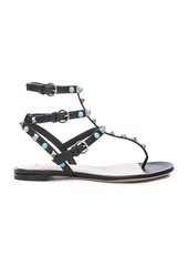 Valentino Rockstud Leather Rolling Thong Sandals