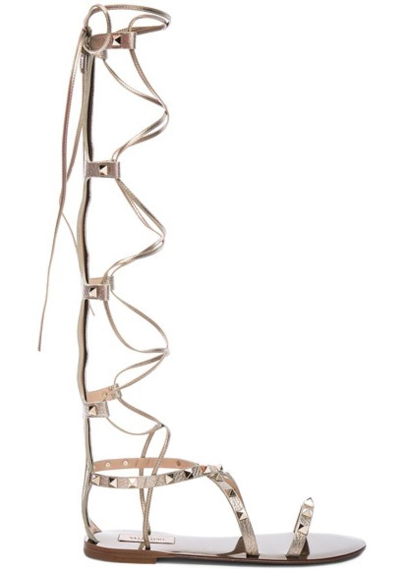 Valentino Rockstud Leather Tall Gladiator Sandals