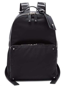 Valentino Rockstud leather-trimmed nylon backpack