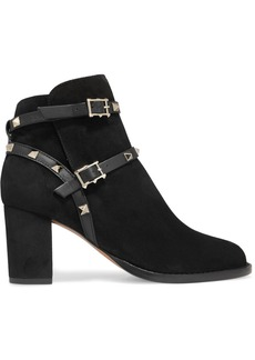 Valentino Garavani The Rockstud Leather-trimmed Suede Ankle Boots