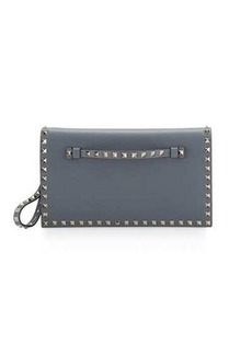 Valentino Rockstud Medium Flap Wristlet Clutch Bag