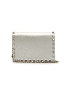 Valentino Rockstud metallic grained-leather clutch