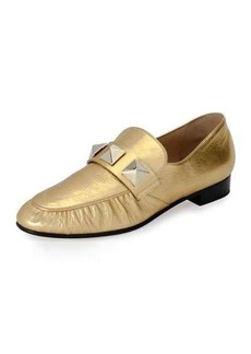 Valentino Rockstud Metallic Leather Loafer
