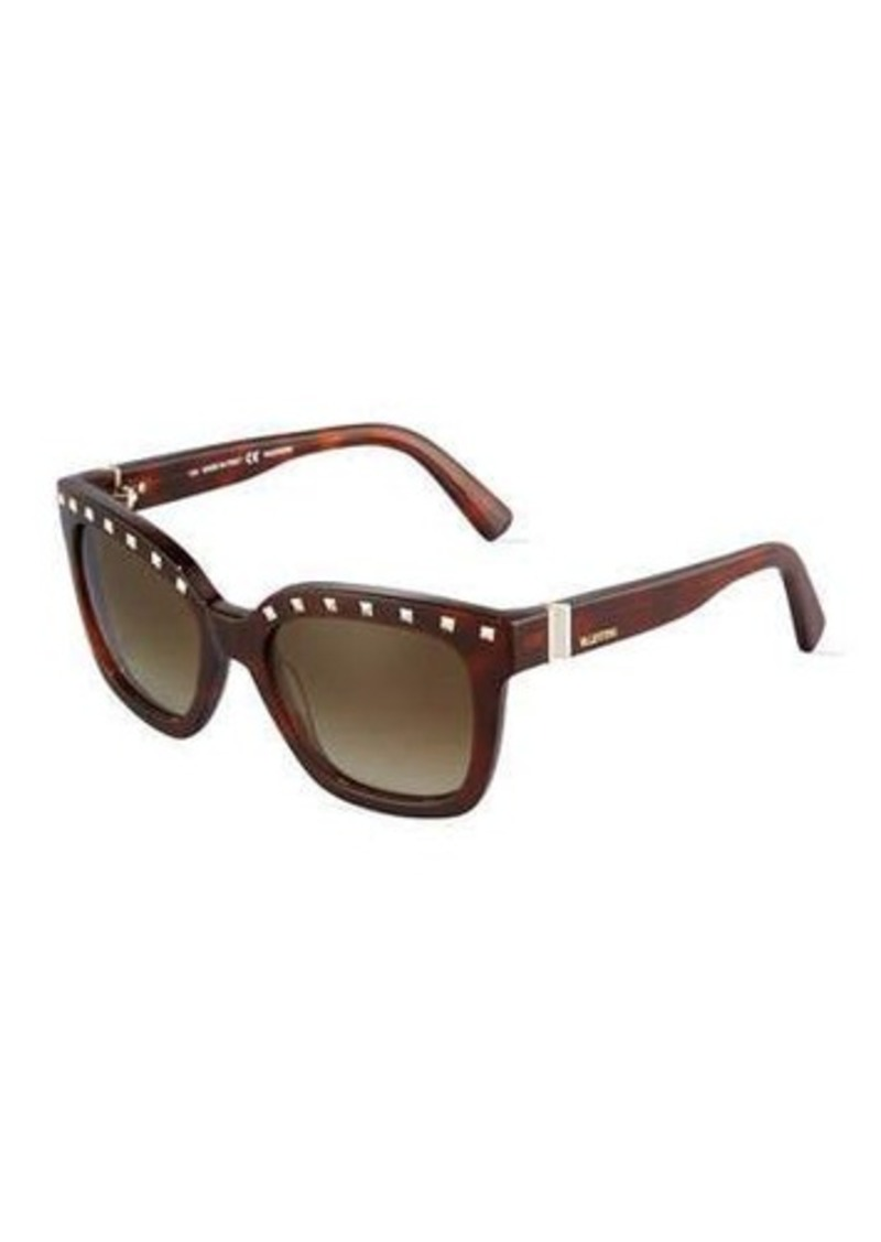 Valentino Rockstud Modified Square Plastic Sunglasses