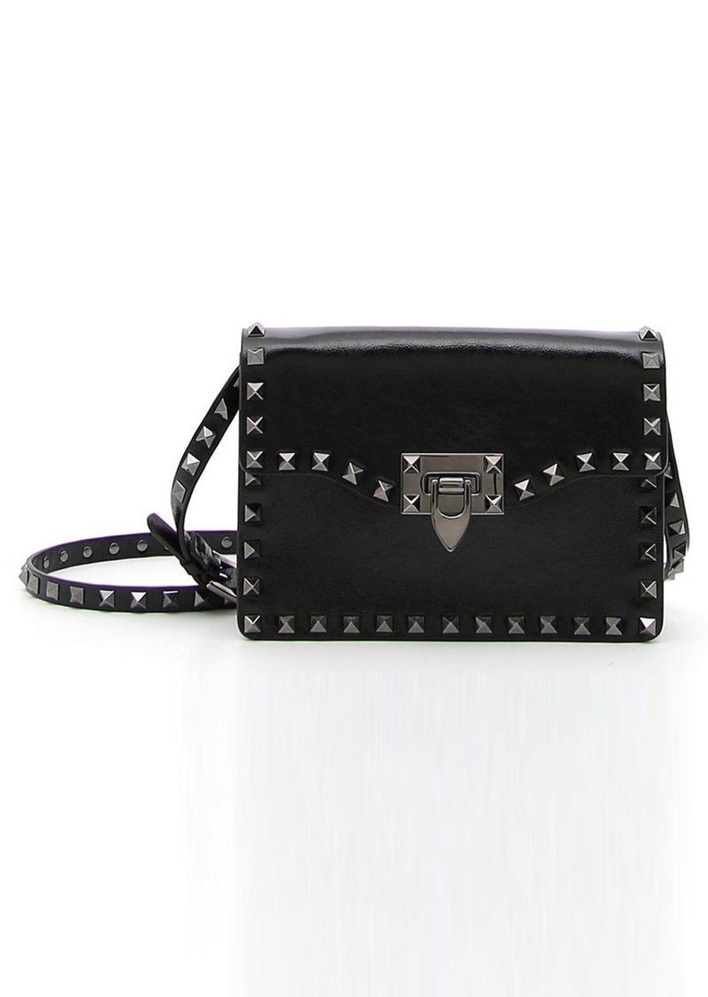 Valentino 'Rockstud Noir' Calfskin Leather Shoulder Bag