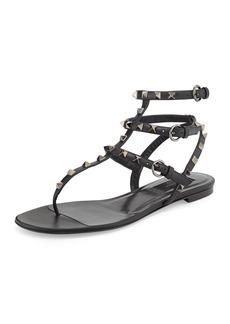 Valentino Garavani Rockstud Noir Flat Thong Sandal