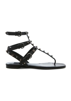 Valentino Rockstud Noir Gladiator Leather Sandals T.05