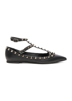 Valentino Rockstud Noir Leather Cage Flats