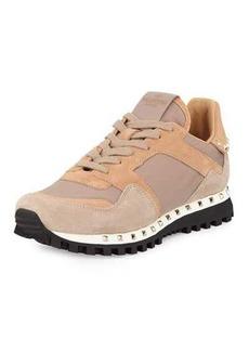 Valentino Rockstud Nylon & Suede Sneaker