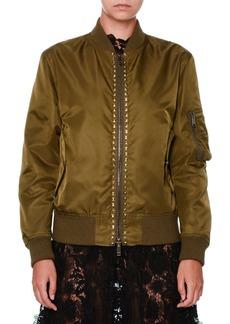 Valentino Rockstud Nylon Bomber Jacket